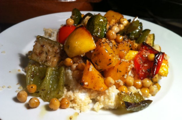 Spiced Mediterranean vegetables with lemon, couscous and feta