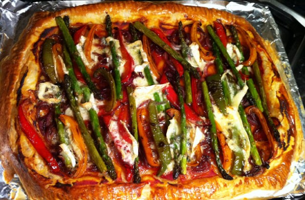 Sweet vegetable and blue brie tart
