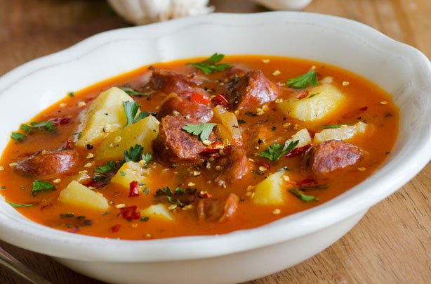 Spanish-style potato and chorizo soup