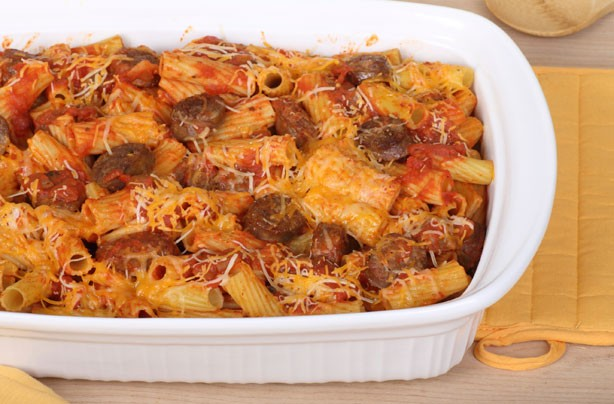 Sausage Rigatoni pasta bake