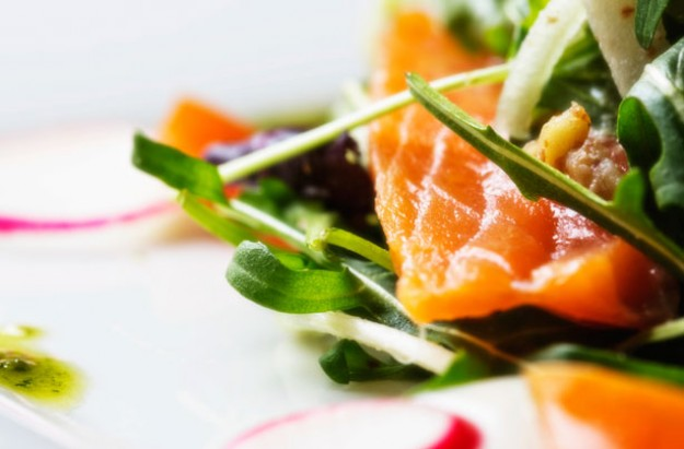 Salmon salad with herb vinaigrette