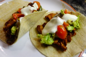 Chicken and green pepper fajitas