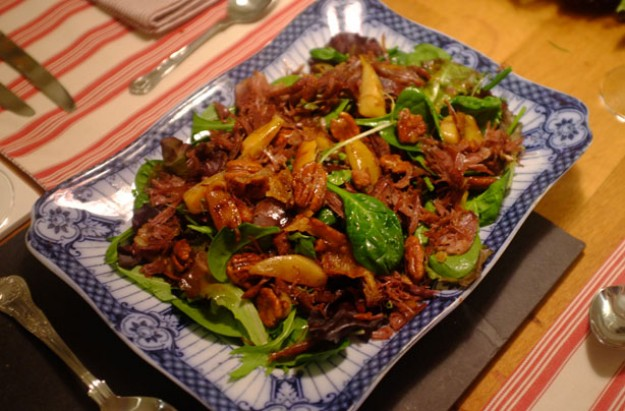 Goose, pear and pecan salad