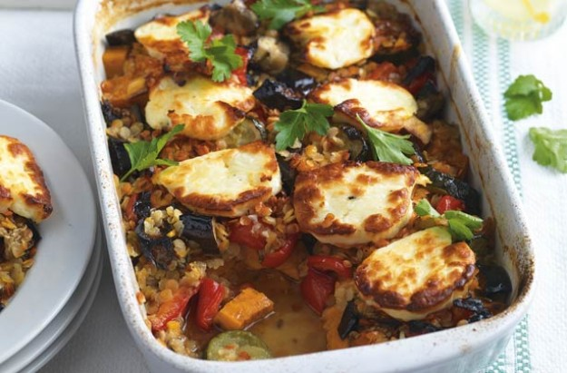 Turkish halloumi bake