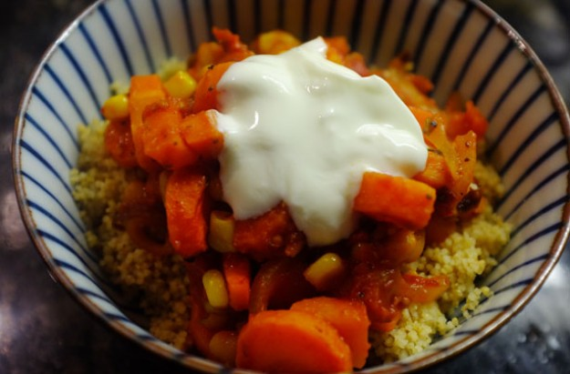 Roasted carrot and tomato couscous