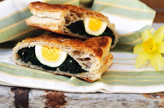 Easter spinach and egg strudel