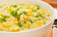 Corn chowder with cod chunks
