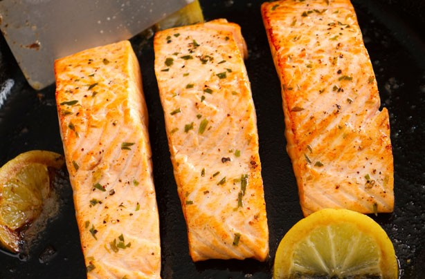 Pan fried salmon fillet