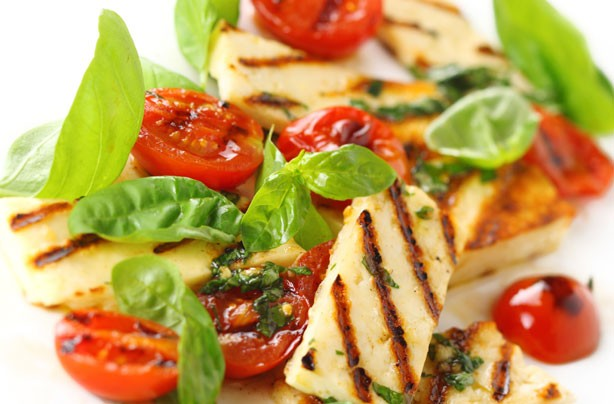 Halloumi and cherry tomato salad