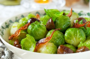 Stir-fried sprouts with chestnuts and bacon