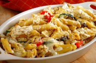 Courgette bacon and chilli pasta bake