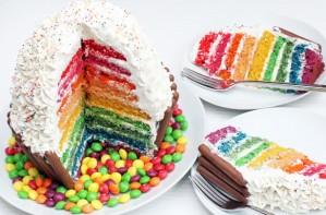 Giant rainbow cupcake