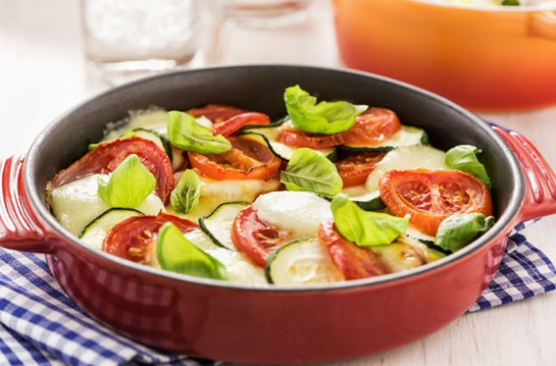Courgette, tomato and mozzarella gratin