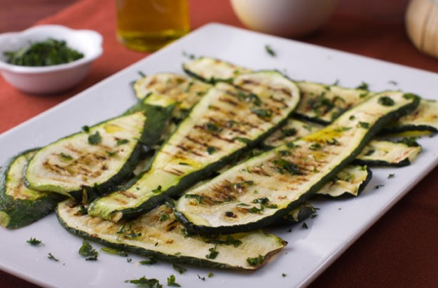 Griddled courgettes with chilli lime dressing