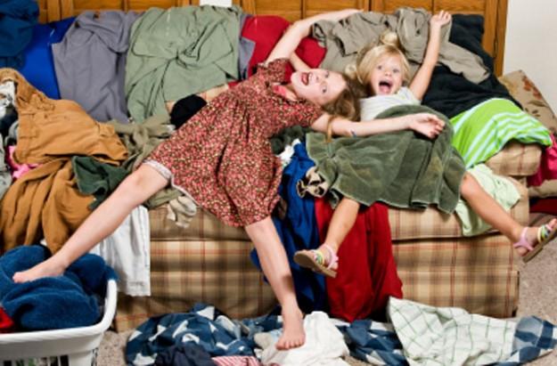 Kids in messy room