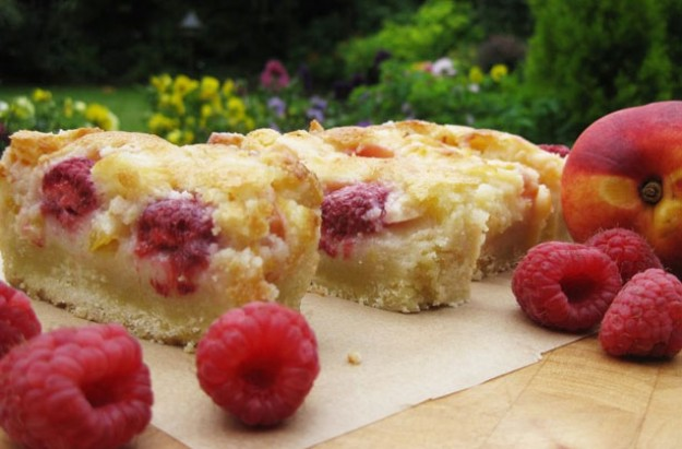 Peach melba shortcake with cream cheese custard