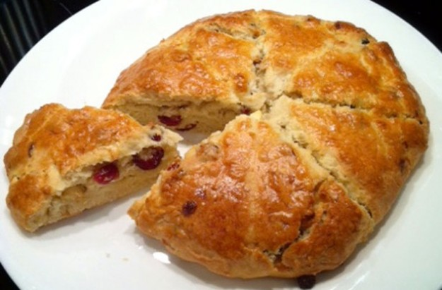 White chocolate and cranberry scone