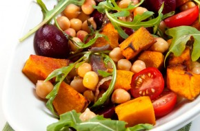 Roast vegetable and chickpea salad