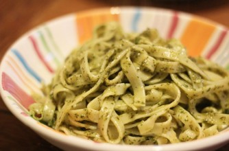 Tagliatelle and watercress sauce