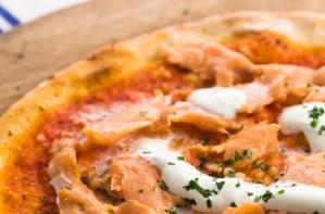 Salmon, anchovy and caper pizza