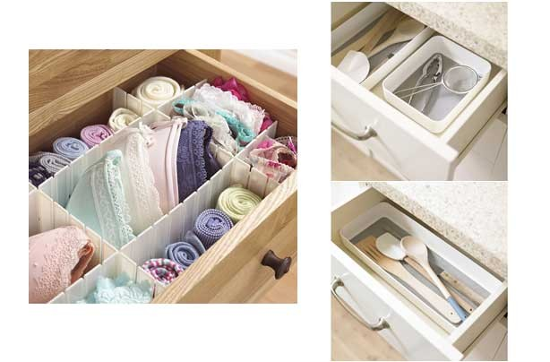 Cheap storage solutions Lakeland drawer dividers organisers