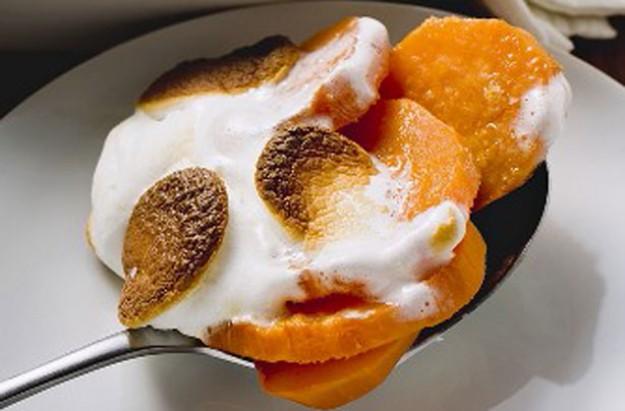 Sweet potato and marshmallow gratin