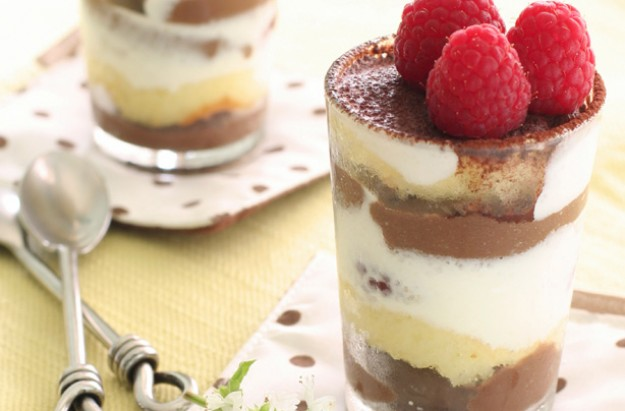 Raspberry brownie and chocolate mousse pots