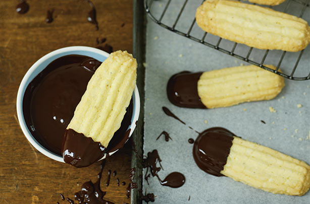 Chocolate-dipped Viennese finger biscuits recipe - goodtoknow