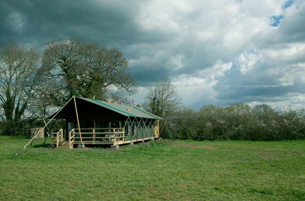 Glamping Mill Farm Wiltshire canvas lodge