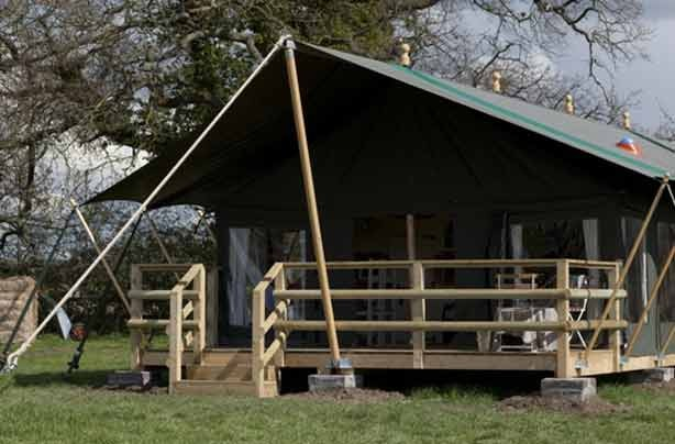 Glamping Mill Farm lodge close-up