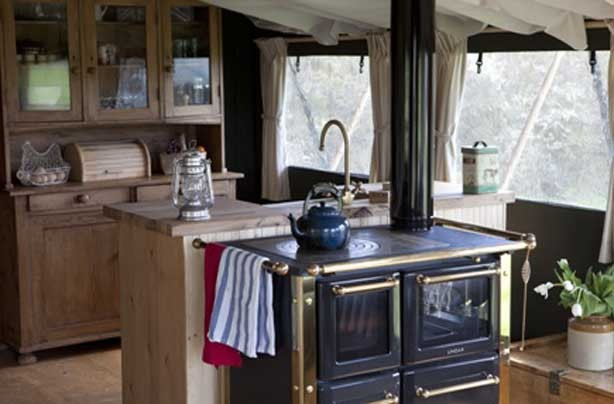Glamping Mill Farm Wiltshire kitchen