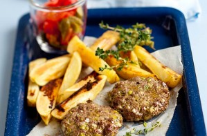 venison burger and chips