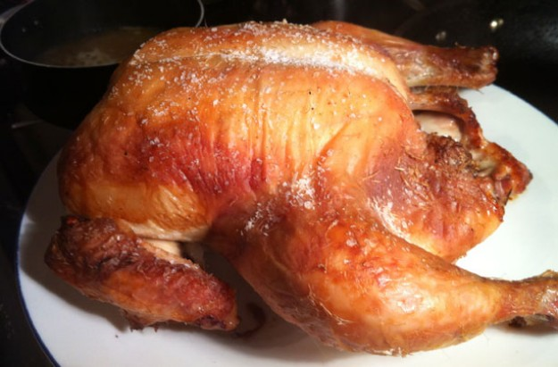 Roast chicken brined in honey and herbs