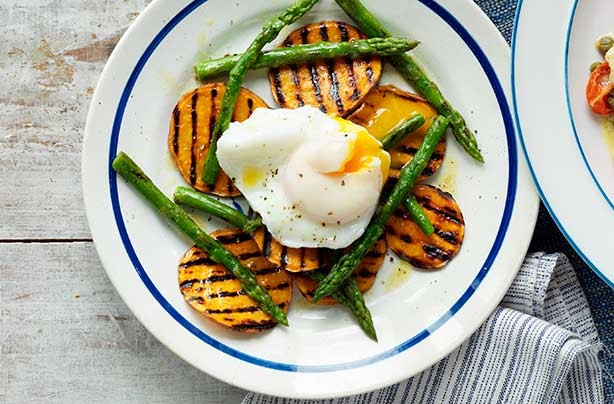 Griddled asparagus, sweet potato and poached egg salad