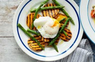 Asparagus, sweet potato topped with a poached egg