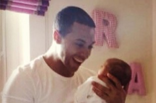 Marvin Humes with newborn baby daughter Alaia