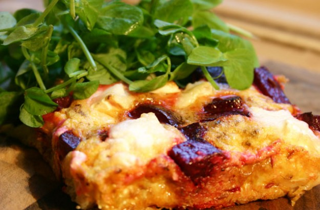 Beetroot and goats cheese frittata