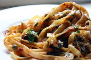 Pasta with anchovies and capers