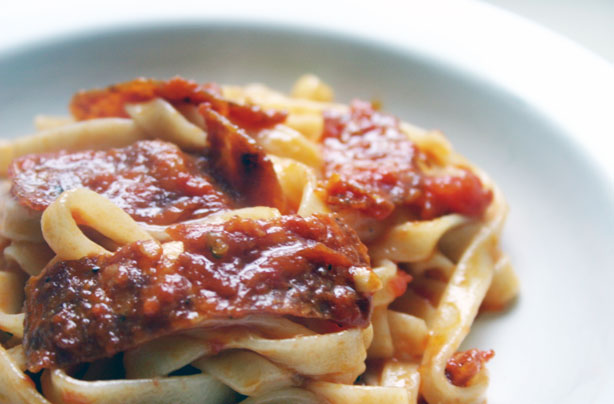 Spicy salami and tomato pasta sauce recipe - goodtoknow
