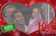 David Beckham and Harper on the Kiss Cam