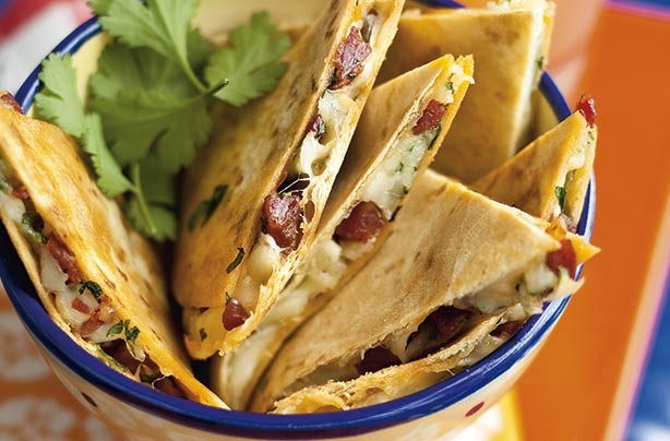 Manchego and chorizo quesadillas