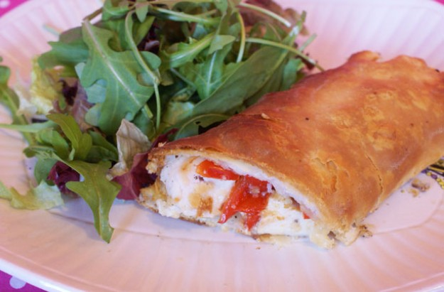 Chicken, cottage cheese and lemon puff pastry pie