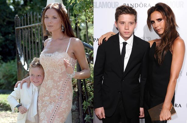 Brooklyn and Victoria Beckham now and then