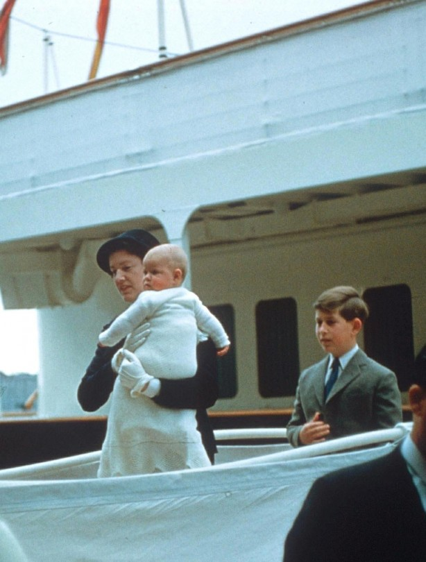 Prince Andrewas a baby with big brother Prince Charles