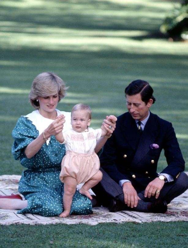 Princess Diana and Prince Charles with Prince William as a baby