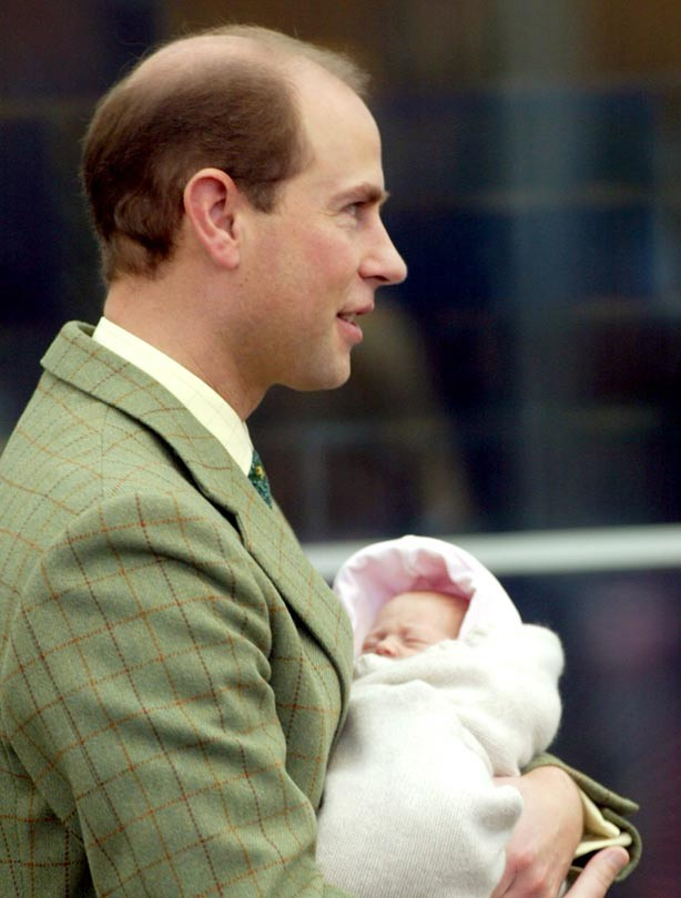 Prince Edward with baby daughter Louise Windsor