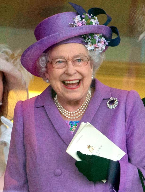 Queen Elizabeth II smiling at Ascot