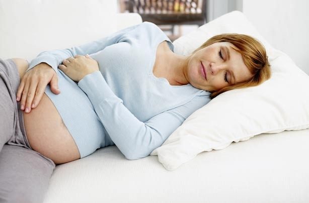 Pregnant woman sleeping