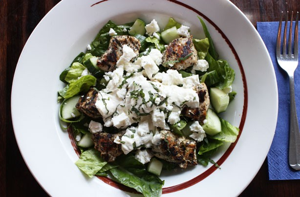 Warm chicken Tzatziki salad