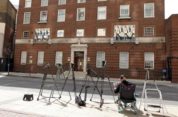 Press outside St Mary's Hospital